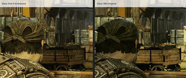 Gears of War 3 исполнялась на Xbox 360 в разрешении 720p, а на Xbox One X масштабируется до полноценного 4K, так что разница оказывается колоссальной, вдобавок производительность существенно лучше