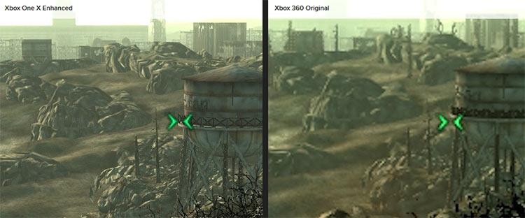 В Fallout 3 полноценное разрешение 4K не мешает работе движка постобработки, включая полноэкранное сглаживание 4x MSAA. Впрочем, на дальней дистанции на Xbox One X, как видно, пропали некоторые деревья