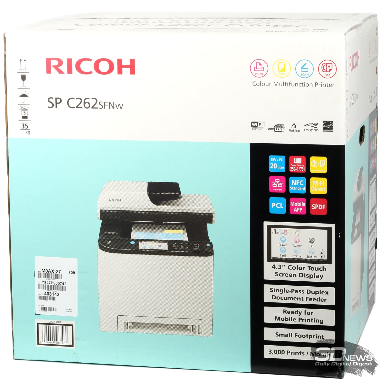 Новая статья: МФУ Ricoh SP C262SFNw – цветной, беспроводной