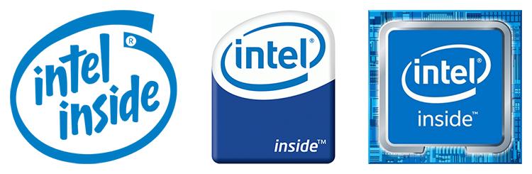Логотипы Intel Inside разных лет