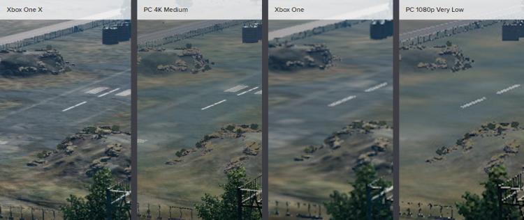 Прорисовка деталей вдалеке на Xbox One X не соответствует версии ПК, работающей на средних настройках, в то время как базовый Xbox One вовсе сильно отстаёт от очень низких настроек ПК