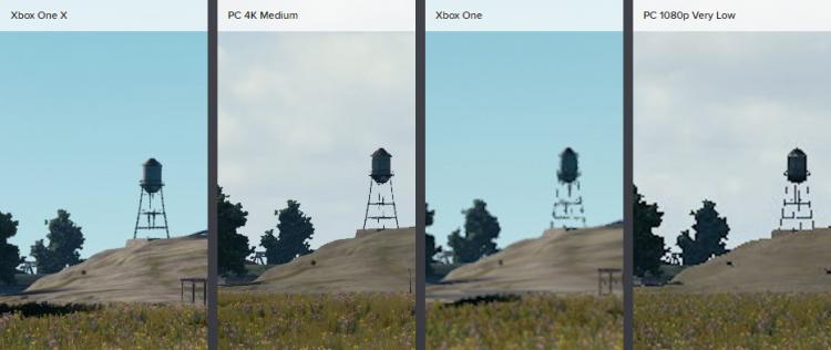Трава на ПК и Xbox One X смотрится практически одинаково на этом кадре. Однако Xbox One демонстрирует гораздо худшую дальность прорисовки в сравнении с самыми низкими настройками ПК-версии. Размытость изображения на базовой модели, возможно, объясняется сглаживанием с постобработкой, вроде FXAA