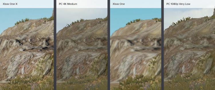 Xbox One X обладает превосходной текстурой земли в этой сцене в сравнении с ПК-версией, работающей на средних настройках. В случае с Xbox One качество текстур меняется — иногда лучше, иногда хуже очень низких настроек на ПК. Тем не менее, младшая консольная версия обладает окклюзией окружения, которая отсутствует в эквивалентной ПК-версии