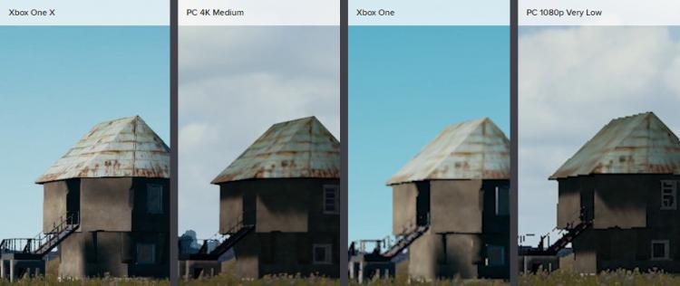 Xbox One X вновь показывает своё превосходное качество текстур, а специальные настройки сглаживания могут объяснить более чистое изображение на X в целом. Опять же, наблюдаются значительные различия в качестве текстур между Xbox One X и самыми низкими настройками. Крупным планом они более чёткие, но становятся мутными при отдалении