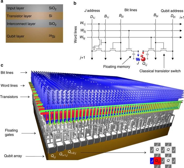 Структура, схема элементарной квантовой ячейки и архитектура кремниевого 480-кубитного квантового процессора (Nature)