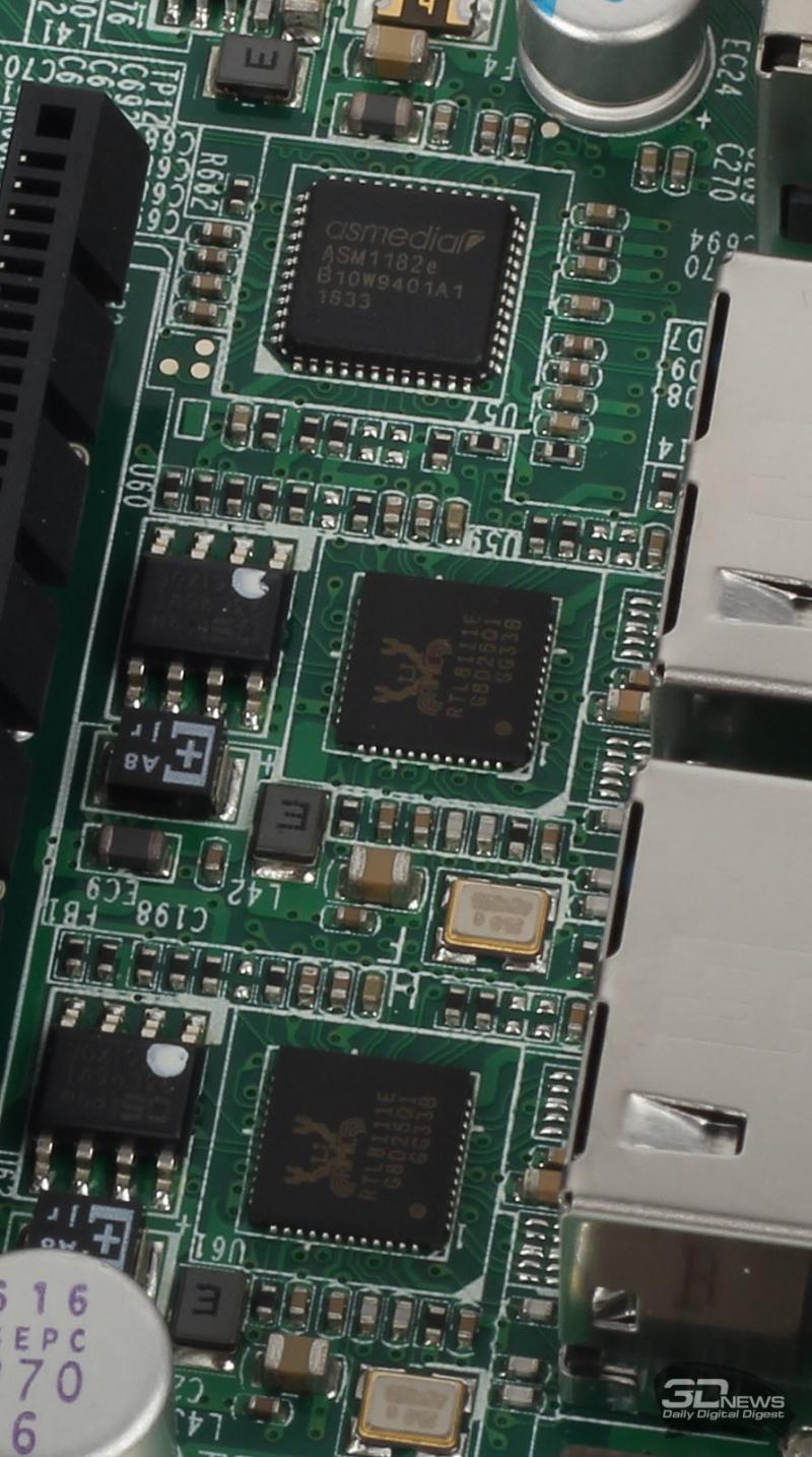Сетевые интерфейсы Realtek RTL8111E и контроллер шины PCI Express ×1 ASMedia ASM1182e