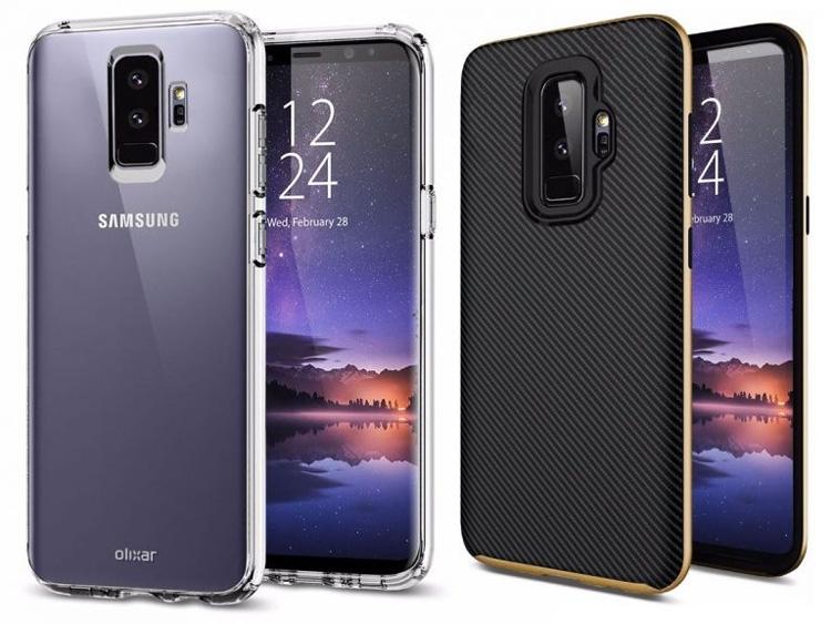 Samsung Galaxy S9+ на рендерах в чехлах