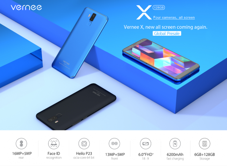 Vernee X — безрамочный смартфон на Helio P23 с мощной батареей