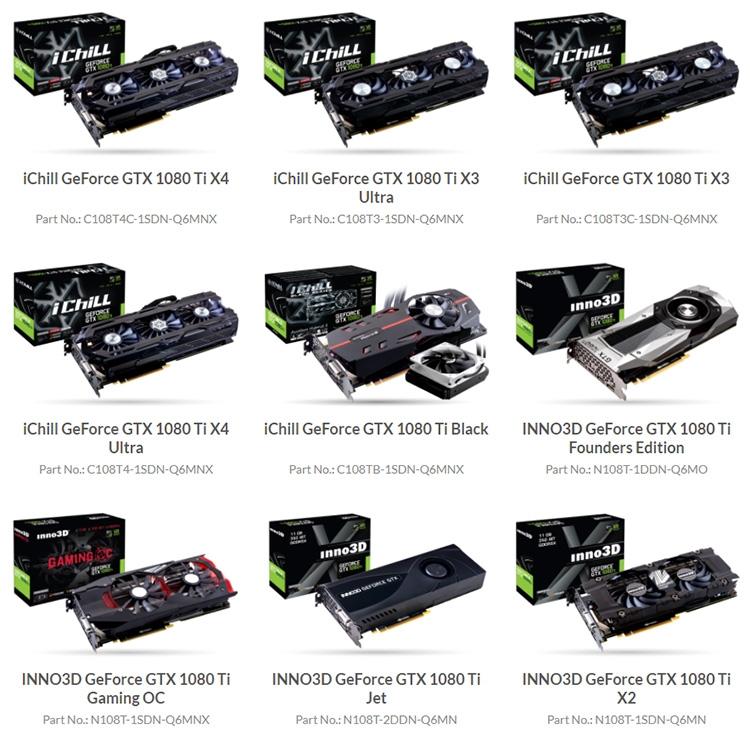 Актуальный ассортимент карт Inno3D GeForce GTX 1080 Ti
