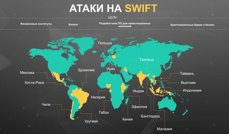 География атак на систему банковских расчётов SWIFT (источник: «Лаборатория Касперского»)