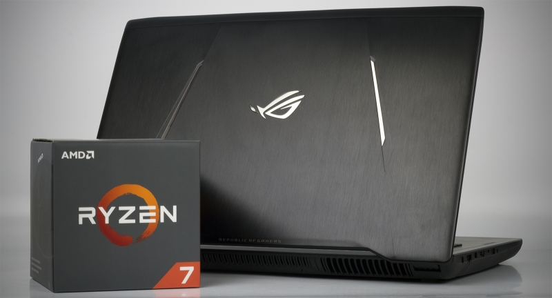 ASUS ROG Strix GL702ZC &quot;height =&quot; 432 &quot;width =&quot; 800 &quot;/&gt; </a></p> </div> <p> Ryzen processors are great for tasks related to graphics processing, video encoding, cryptography and data archiving. So, the six-core Ryzen 5 1600 installed in the ROG Strix GL702ZC simply declasses Intel&#39;s flagship chips. And the top Core i7-7820HK does not help even overclocking. But in fact the laptop uses very slow RAM DDR4-2400. When using a set of RAM with low latencies and high frequency, you can increase Ryzen&#39;s performance by another 10-15%. </p> <!-- Quick Adsense WordPress Plugin: http://quickadsense.com/ --> <div style=