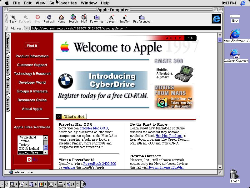 Вид рабочего стола Mac OS 8
