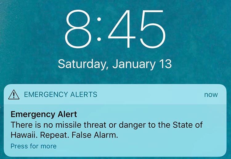 """Жители Гавайев по ошибке получили сообщение о приближении ракеты"""""""