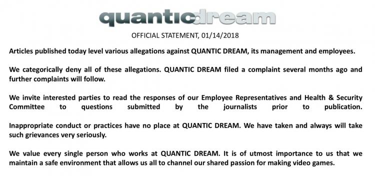 Руководство Quantic Dream обвиняют в трудовых махинациях и неподобающем отношении к сотрудникам