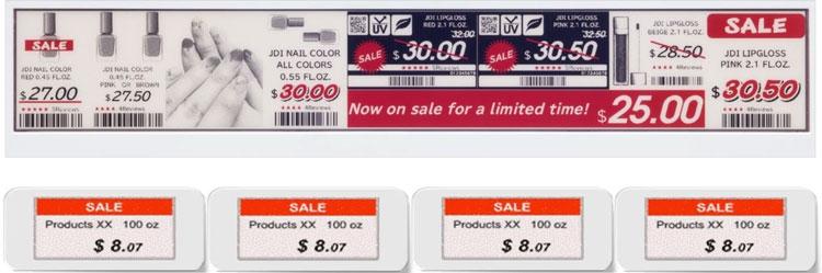 Сравненние 30-см электронных ценников с актуальными 7,5-см (Japan Display Inc)