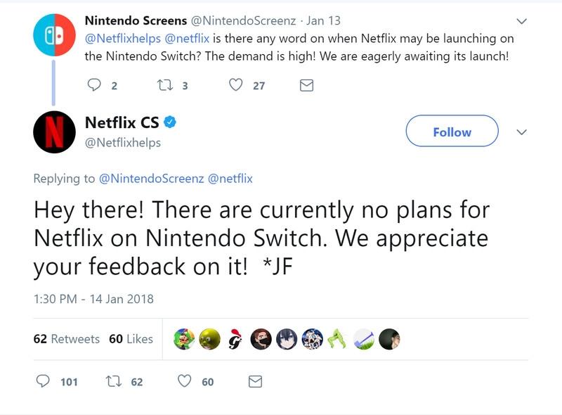 Netflix всё ещё обдумывает выпуск приложения для Nintendo Switch
