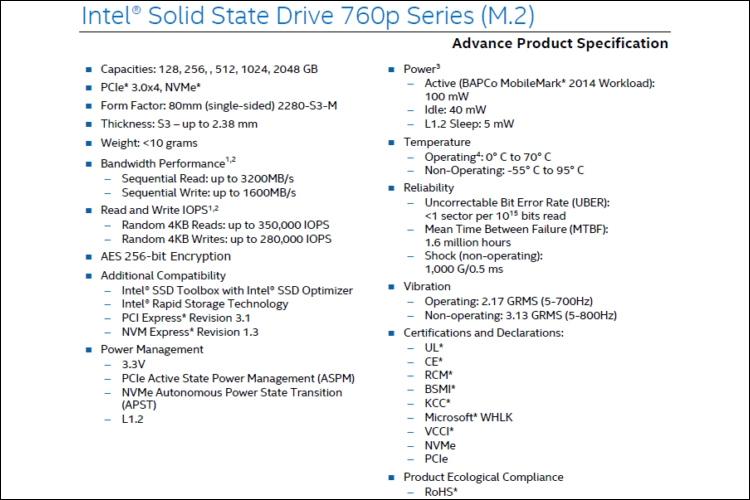 """Раскрыты показатели быстродействия накопителей Intel 760p NVMe SSD"""""""