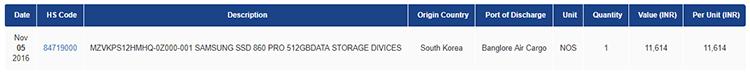 В Индию экземпляр Samsung SSD 860 PRO прибыл ещё в ноябре, но не для продажи, а для тестирования