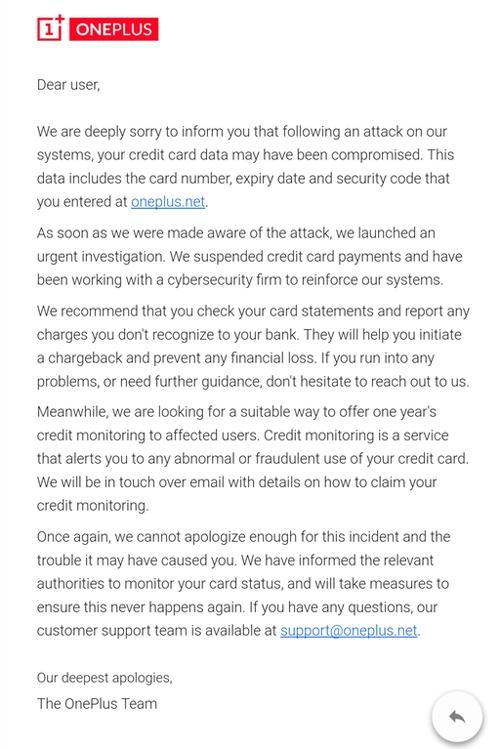 """OnePlus «потеряла» данные банковских карт 40 000 клиентов"""""""