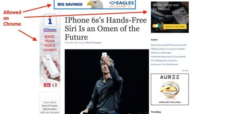 Как будет выглядеть страница после блокировки нежелательной рекламы в Google Chrome. Иллюстрация Business Insider
