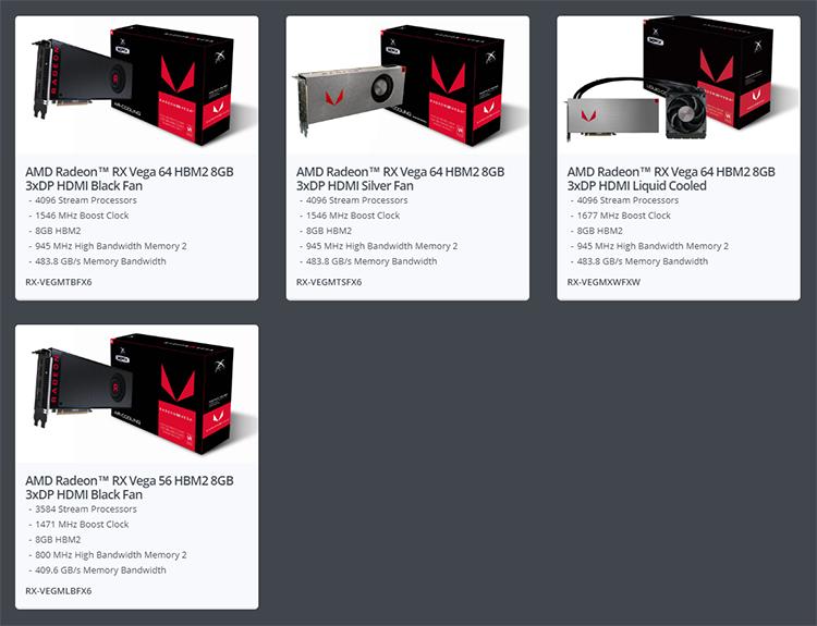 На сайте XFX дано описание только референсных карт на базе ядер Vega 10 XT и XL