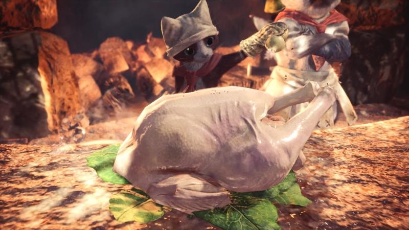 В мире Monster Hunter никто не беспокоится о возможном попадании шерсти в еду