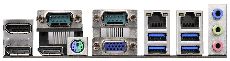 Панель ввода-вывода: 3 × DisplayPort, 2 × COM, комбинированный PS/2, D-Sub, 2 × RJ-45, 4 × USB 3.0, 3 × Mini-Jack