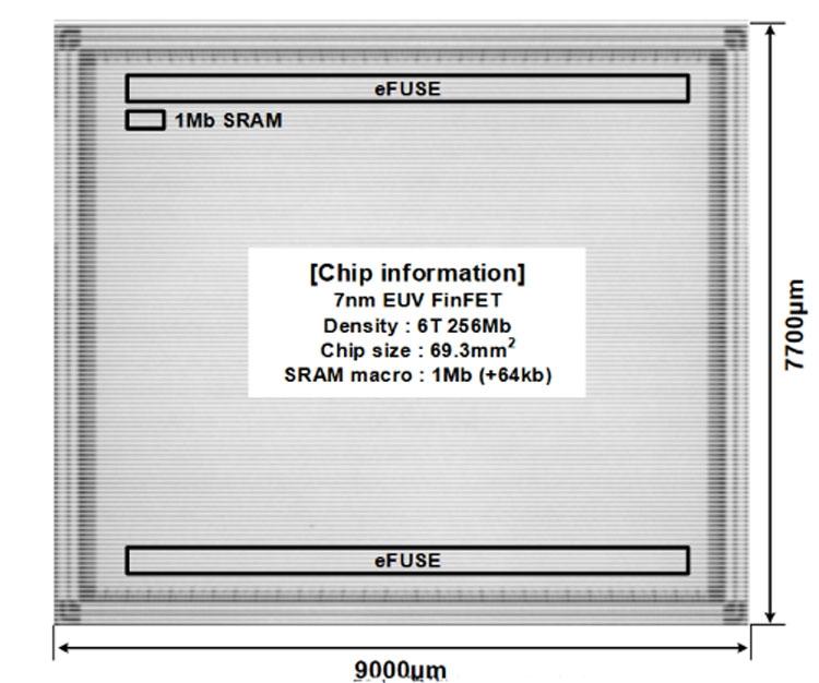 Опытный массив SRAM Samsung ёмкостью 256 Мбит, техпроцесс 7 нмс использованием EUV-литографии