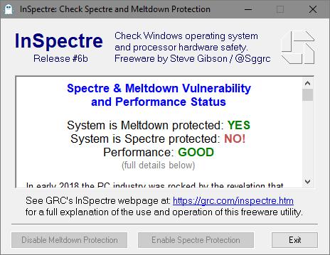 Защита от Meltdown есть, от Spectre нет. Производительность в норме.