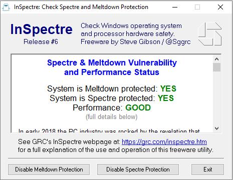 Защита от Meltdown и Spectre есть. Производительность в норме.