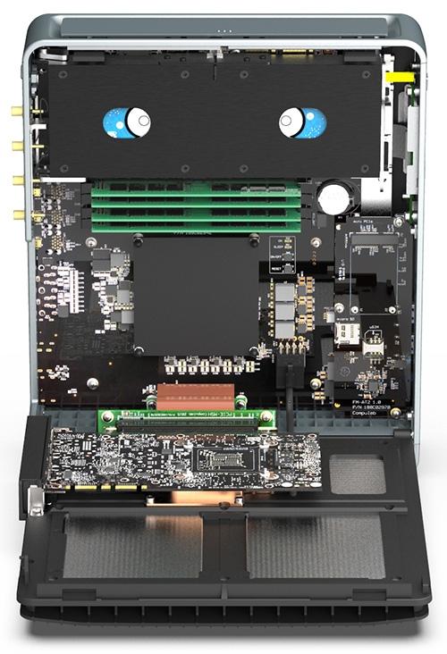 Графический адаптер подключается к материнской плате с помощью PCI-E райзера