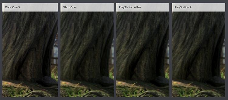 На PlayStation 4 эффект ambient occlusion имеет более высокое разрешение, чем на Xbox One. На PlayStation 4 Pro дерево в центре имеет наиболее выраженное затенение, а вариант для Xbox One X оказался где-то посередине между базовой и улучшенной PlayStation 4.