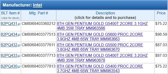 Цены на новые CPU Coffee Lake-S в BLT выше, чем в Provantage