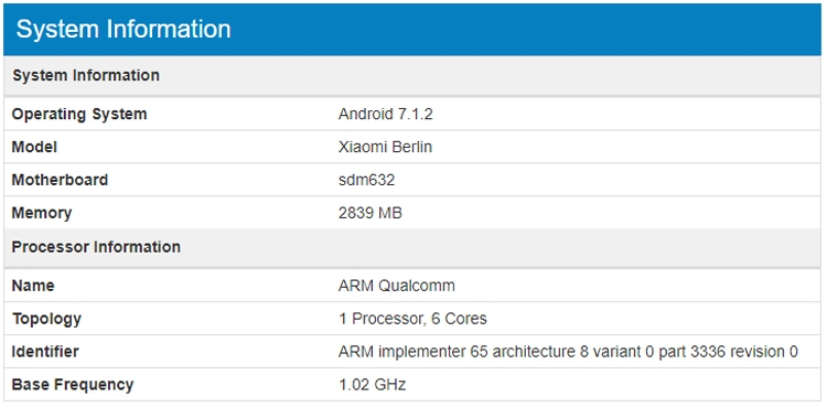 "Бенчмарк рассекретил смартфон Xiaomi Berlin на платформе Snapdragon 632"""
