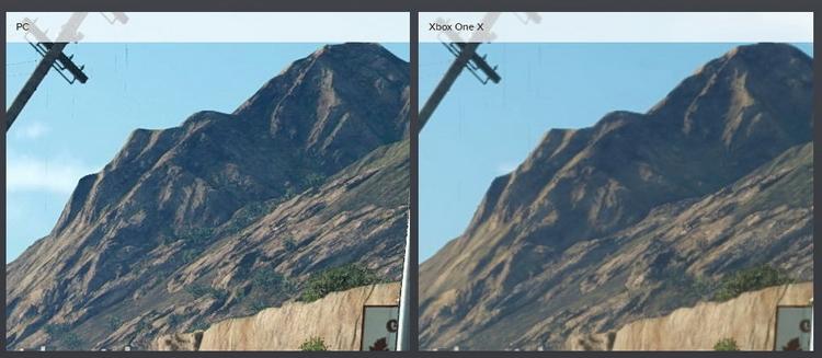 Различия в уровне детализации особенно заметны, если присмотреться к горному массиву в отдалении.