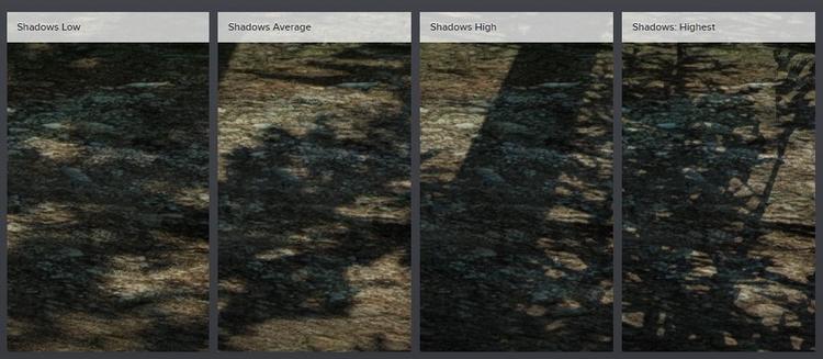 PC-версия имеет четыре уровня качества теней (на Xbox One X используется высокий). На низком и среднем не только ухудшается качество теней, но и снижается дистанция их прорисовки.