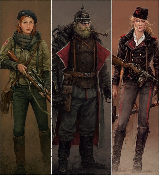 Первые три героя (слева направо): снайпер и символ сопротивления Анна, легендарный командир Гюнтер и шпионка Ольга.