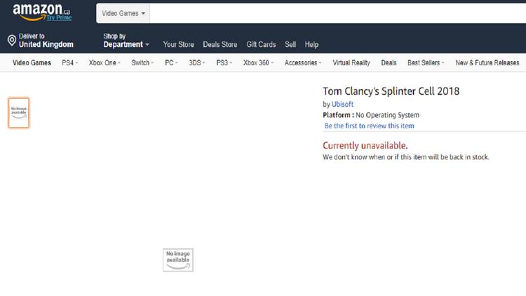 "Новая Splinter Cell «засветилась» на Amazon — игру анонсируют на Е3 2018?"""