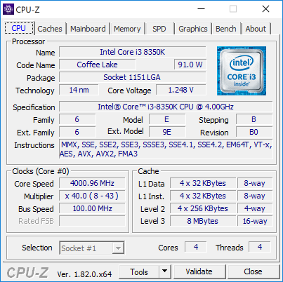 Core i3-8350K — «замаскированный» Kaby Lake-S (степпинг B0)
