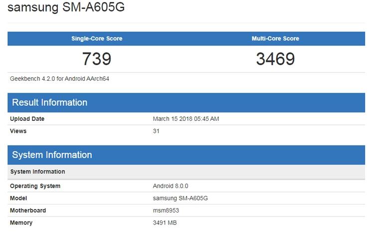 Бенчмарк говорит о подготовке смартфонов Samsung Galaxy A6 и A6+