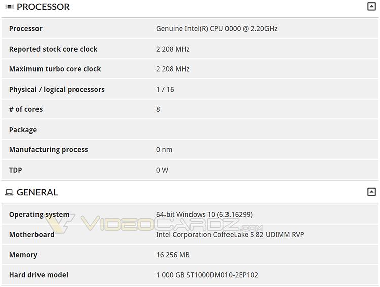 332 1 - В базе 3DMark замечен 8-ядерный процессор LGA1151