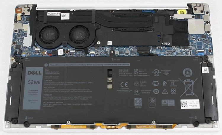 Больше половины системного отсека XPS 13 9370 занимает батарея