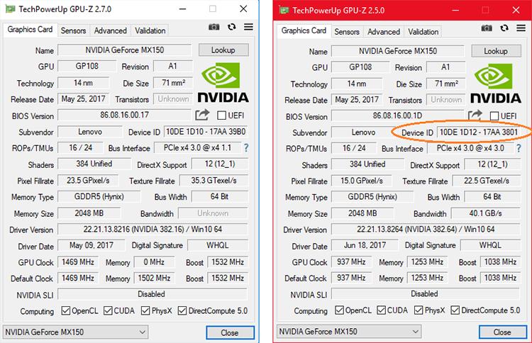 Сравнение графических адаптеров ноутбуков Lenovo Ideapad 320-15IKBRN и Ideapad 320S-13IKB в GPU-Z