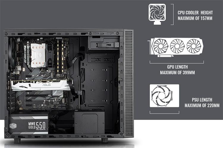 В MasterBox E500L поместятся матплаты форм-факторов ATX, Micro-ATX и Mini-ITX