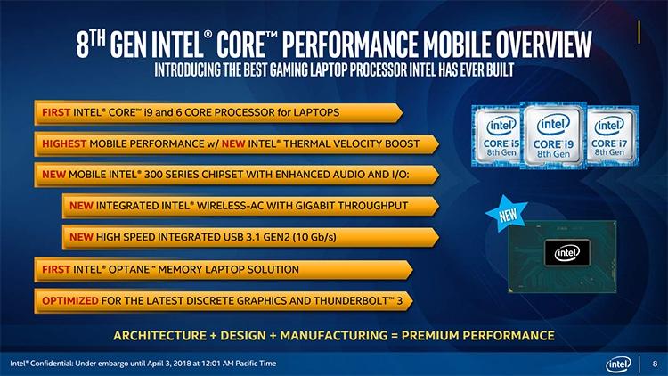 """Шестиядерный Core i9-8950HK возглавил семейство CPU Coffee Lake-H"""""""