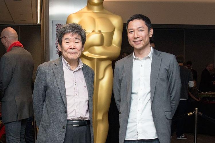 Исао Такахата (слева) и Ёсиаки Нисимура (Yoshiaki Nishimura) на 87-й ежегодной церемонии вручения наград Академии Оскар