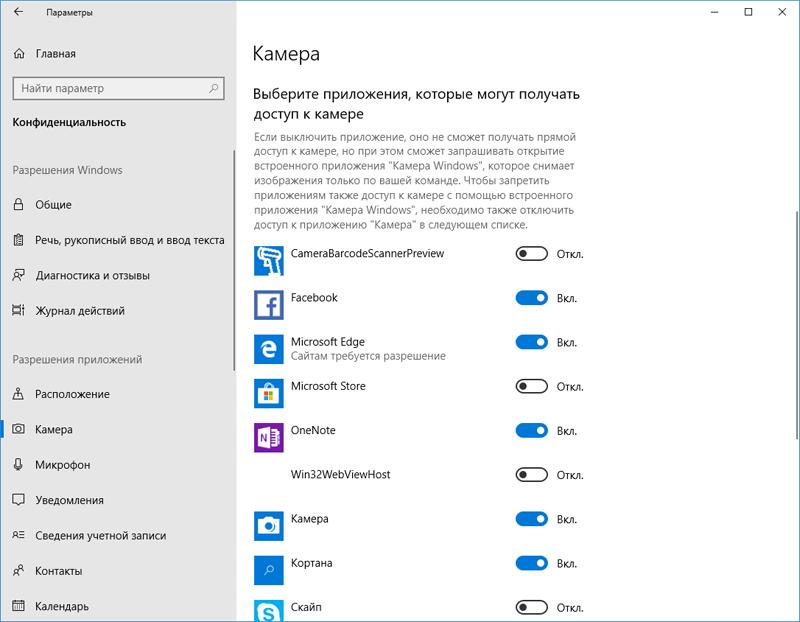 Контроль доступа приложений Windows к камере