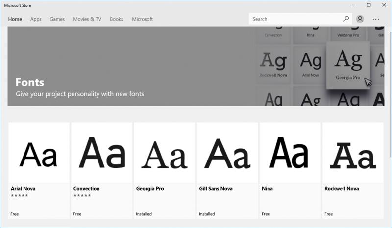 Шрифты в Microsoft Store