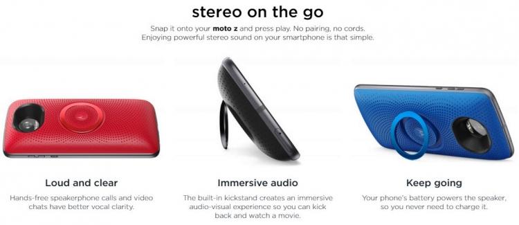 """Модульный динамикMoto Stereo Speaker для смартфонов Moto Z поступил в продажу"""""""