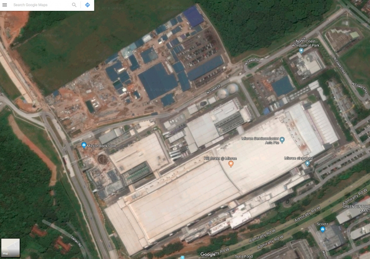 Производственный комплекс Fab 10 (Micron Semiconductor Asia), вид со спутника, Google Maps